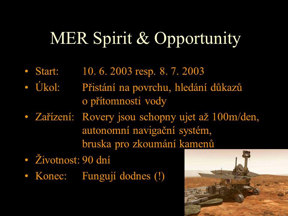 MER Spirit & Opportunity Start: 10. 6. 2003 resp. 8. 7. 2003 Úkol: Přistání na povrchu, hledání důkazů o přítomnosti vody Zařízení:Rovery jsou schopny