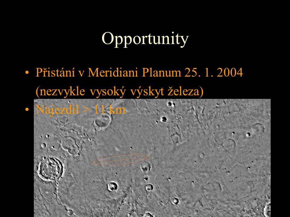 Opportunity Přistání v Meridiani Planum 25. 1. 2004 (nezvykle vysoký výskyt železa) Najezdil > 11 km