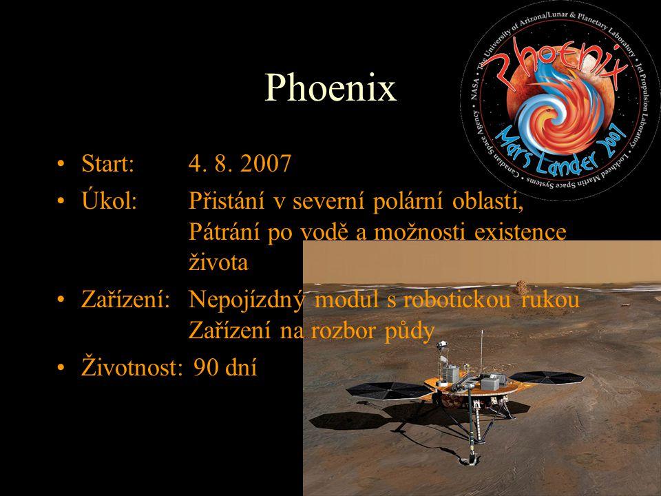 Start: 4. 8. 2007 Úkol: Přistání v severní polární oblasti, Pátrání po vodě a možnosti existence života Zařízení:Nepojízdný modul s robotickou rukou Z