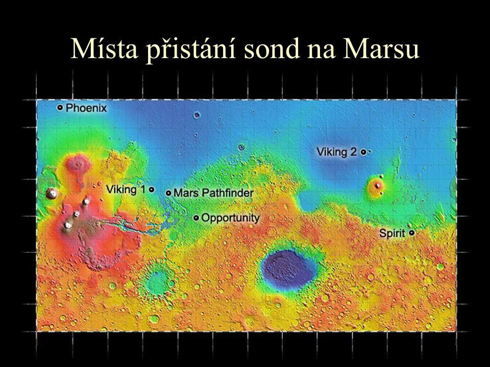Místa přistání sond na Marsu