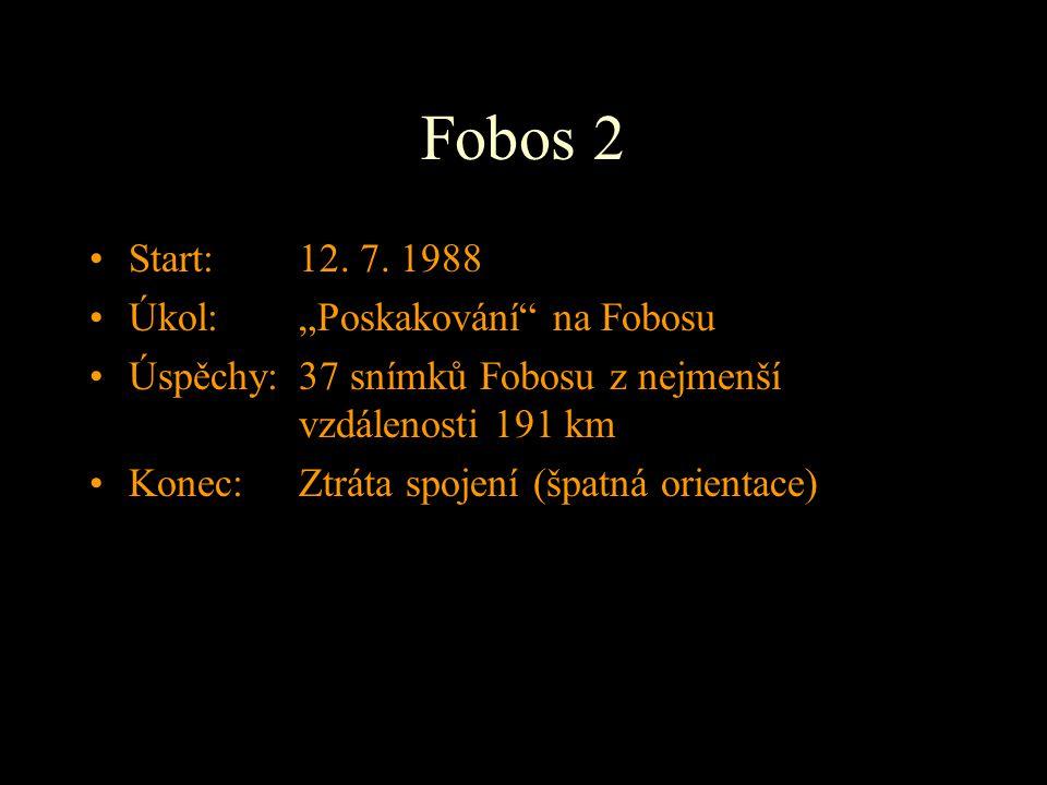 """Fobos 2 Start: 12. 7. 1988 Úkol: """"Poskakování"""" na Fobosu Úspěchy:37 snímků Fobosu z nejmenší vzdálenosti 191 km Konec: Ztráta spojení (špatná orientac"""