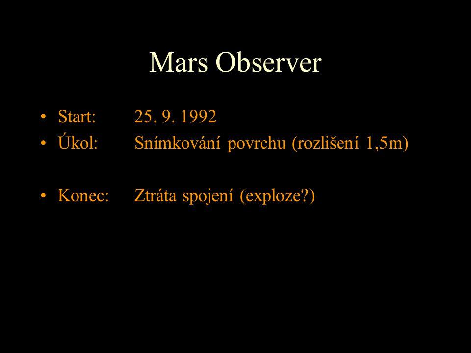 Mars Observer Start: 25. 9. 1992 Úkol: Snímkování povrchu (rozlišení 1,5m) Konec: Ztráta spojení (exploze?)