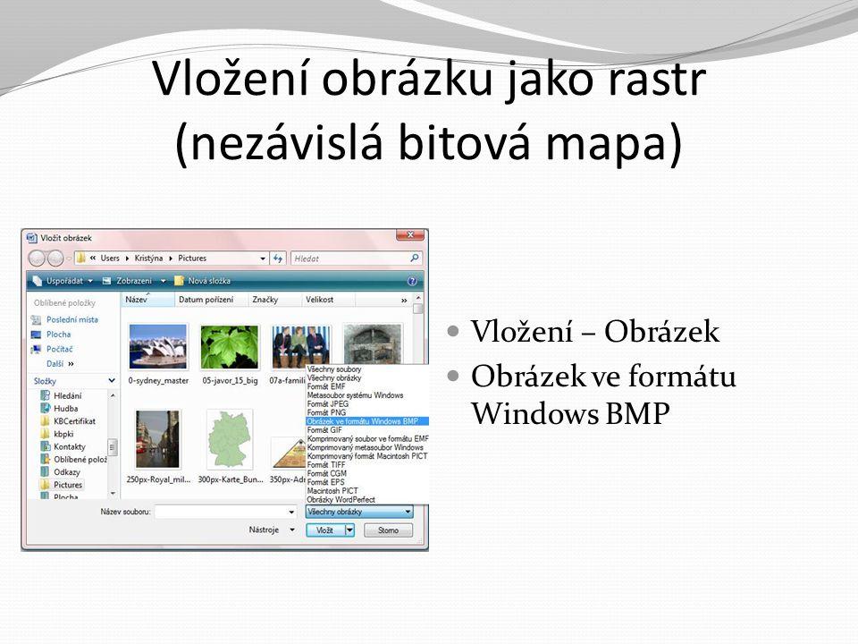 Vložení obrázku jako rastr (nezávislá bitová mapa) Vložení – Obrázek Obrázek ve formátu Windows BMP