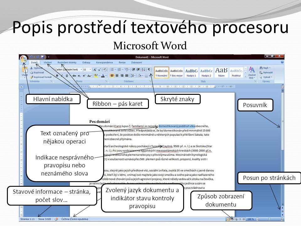 Popis prostředí textového procesoru Microsoft Word Hlavní nabídka Ribbon – pás karet Text označený pro nějakou operaci Indikace nesprávného pravopisu