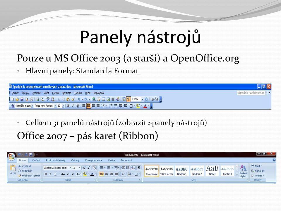 Panely nástrojů Pouze u MS Office 2003 (a starší) a OpenOffice.org Hlavní panely: Standard a Formát Celkem 31 panelů nástrojů (zobrazit >panely nástro