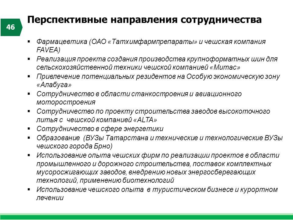 Перспективные направления сотрудничества 46  Фармацевтика (ОАО «Татхимфармпрепараты» и чешская компания FAVEA)  Реализация проекта создания производ