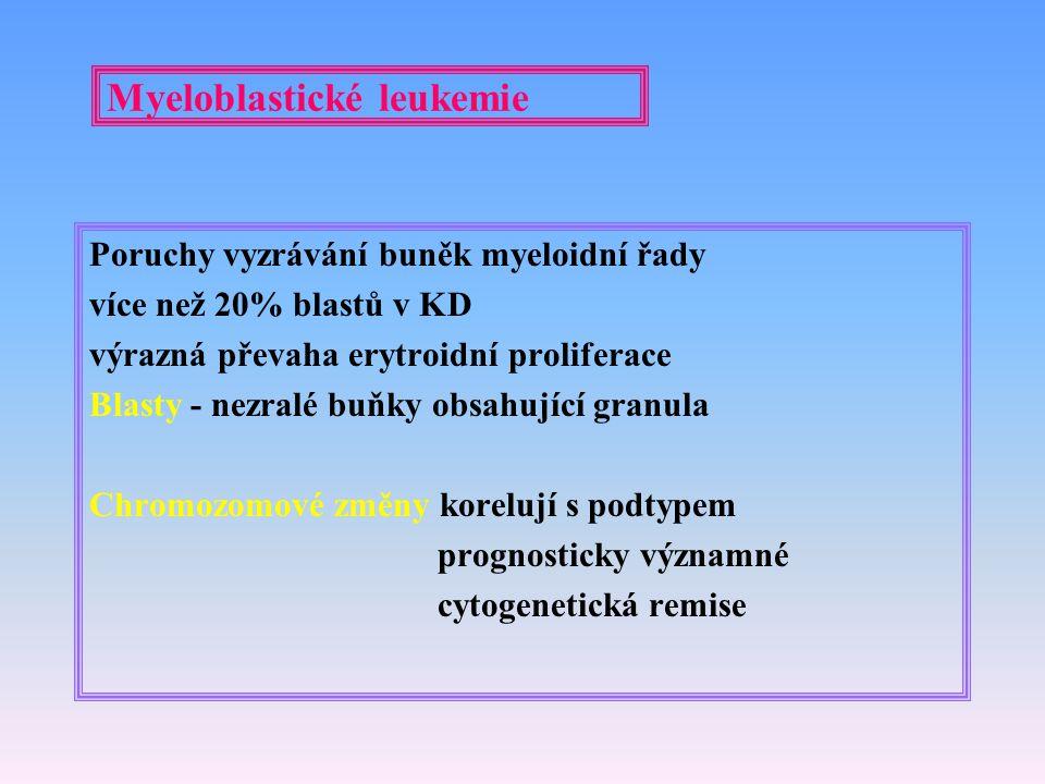 Myeloblastické leukemie Poruchy vyzrávání buněk myeloidní řady více než 20% blastů v KD výrazná převaha erytroidní proliferace Blasty - nezralé buňky
