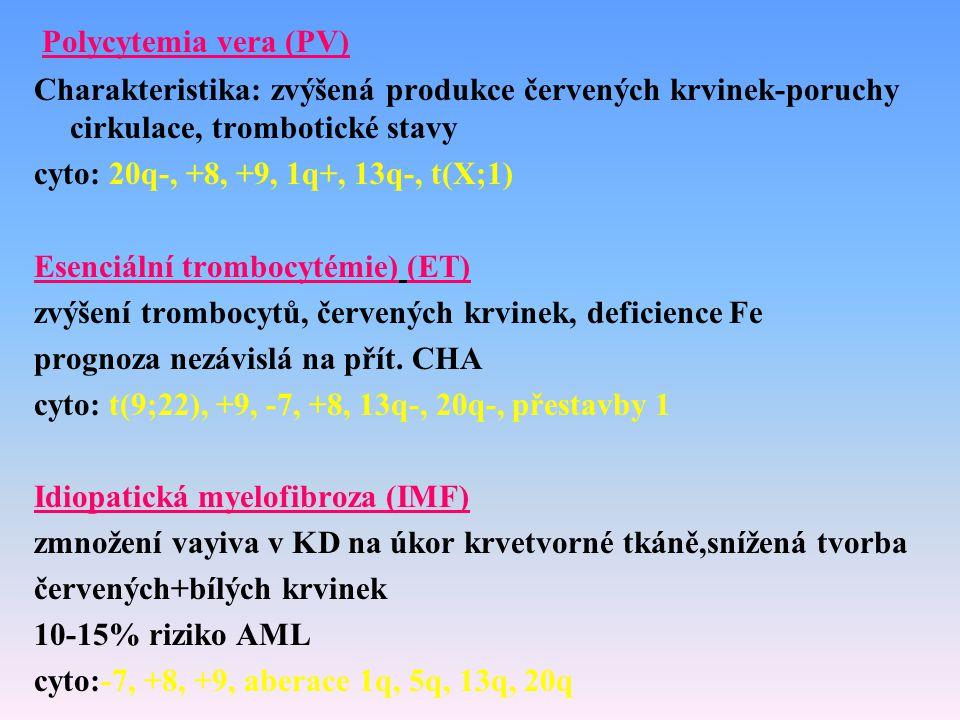 Polycytemia vera (PV) Charakteristika: zvýšená produkce červených krvinek-poruchy cirkulace, trombotické stavy cyto: 20q-, +8, +9, 1q+, 13q-, t(X;1) E
