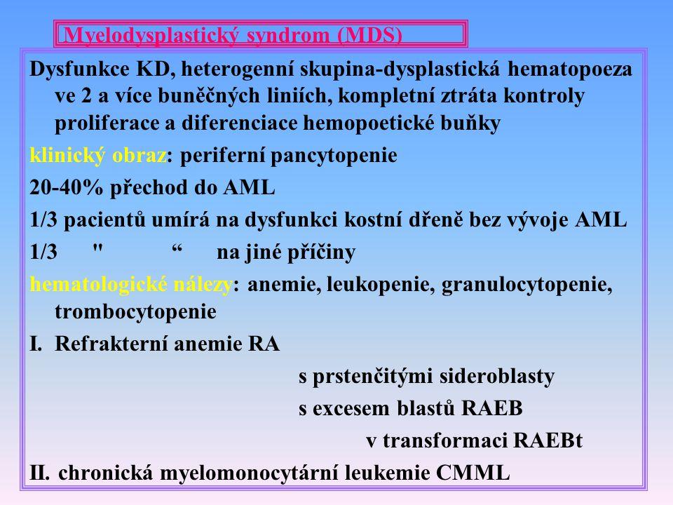 Myelodysplastický syndrom (MDS) Dysfunkce KD, heterogenní skupina-dysplastická hematopoeza ve 2 a více buněčných liniích, kompletní ztráta kontroly pr