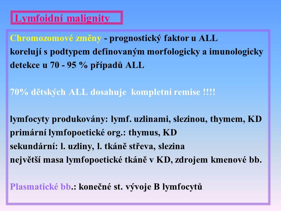 Lymfoidní malignity Chromozomové změny - prognostický faktor u ALL korelují s podtypem definovaným morfologicky a imunologicky detekce u 70 - 95 % pří