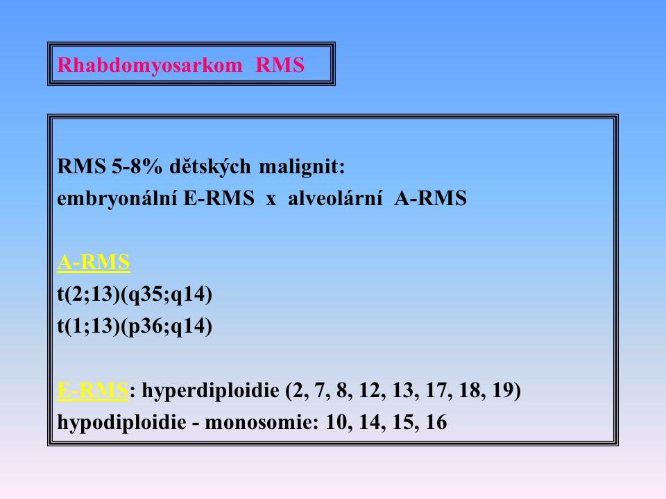 Rhabdomyosarkom RMS RMS 5-8% dětských malignit: embryonální E-RMS x alveolární A-RMS A-RMS t(2;13)(q35;q14) t(1;13)(p36;q14) E-RMS: hyperdiploidie (2,