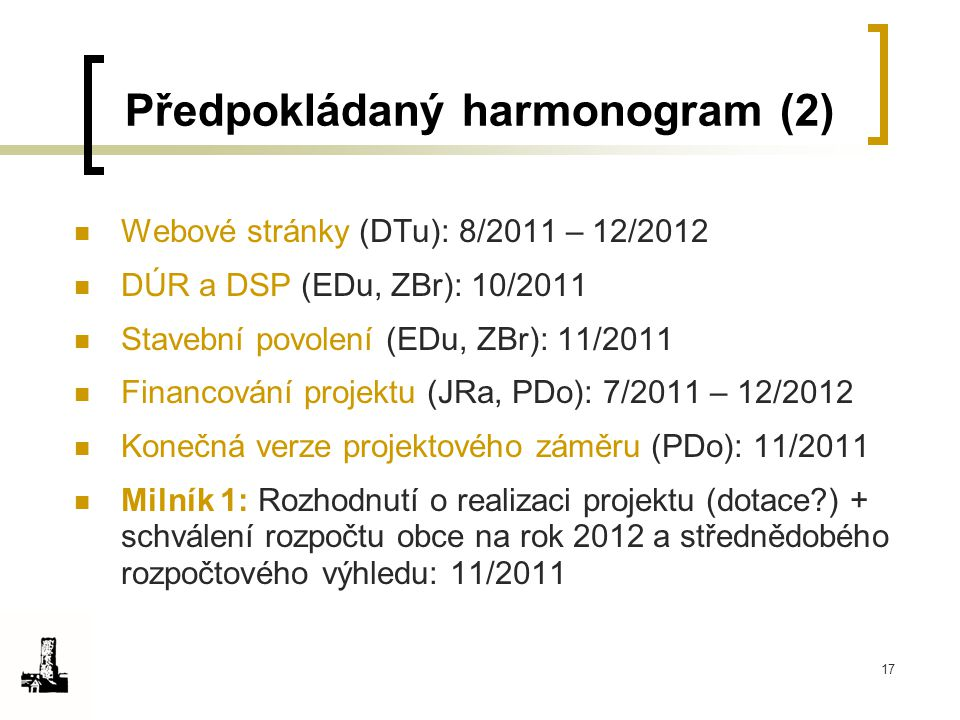 17 Předpokládaný harmonogram (2) Webové stránky (DTu): 8/2011 – 12/2012 DÚR a DSP (EDu, ZBr): 10/2011 Stavební povolení (EDu, ZBr): 11/2011 Financován
