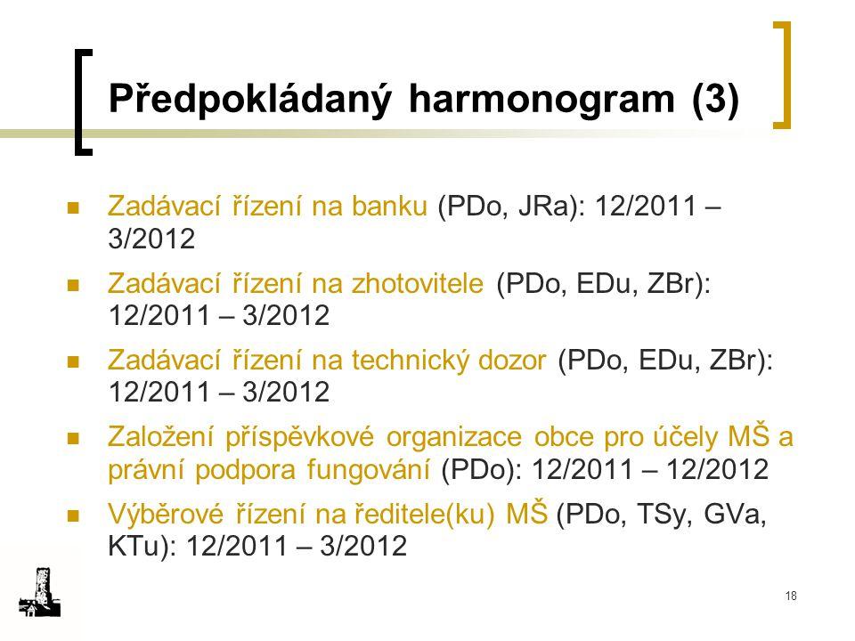 18 Předpokládaný harmonogram (3) Zadávací řízení na banku (PDo, JRa): 12/2011 – 3/2012 Zadávací řízení na zhotovitele (PDo, EDu, ZBr): 12/2011 – 3/201