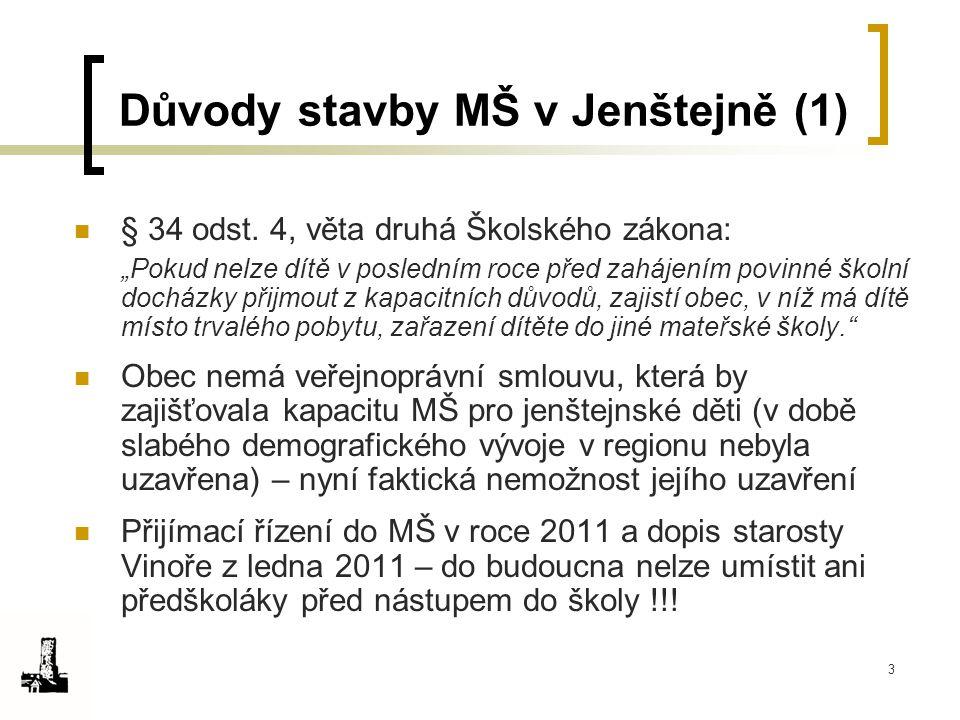 """3 Důvody stavby MŠ v Jenštejně (1) § 34 odst. 4, věta druhá Školského zákona: """"Pokud nelze dítě v posledním roce před zahájením povinné školní docházk"""
