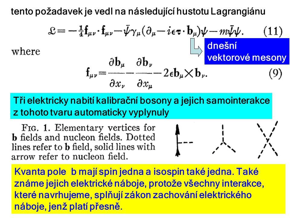 Tři elektricky nabití kalibrační bosony a jejich samointerakce z tohoto tvaru automaticky vyplynuly tento požadavek je vedl na následující hustotu Lagrangiánu dnešní vektorové mesony 17.