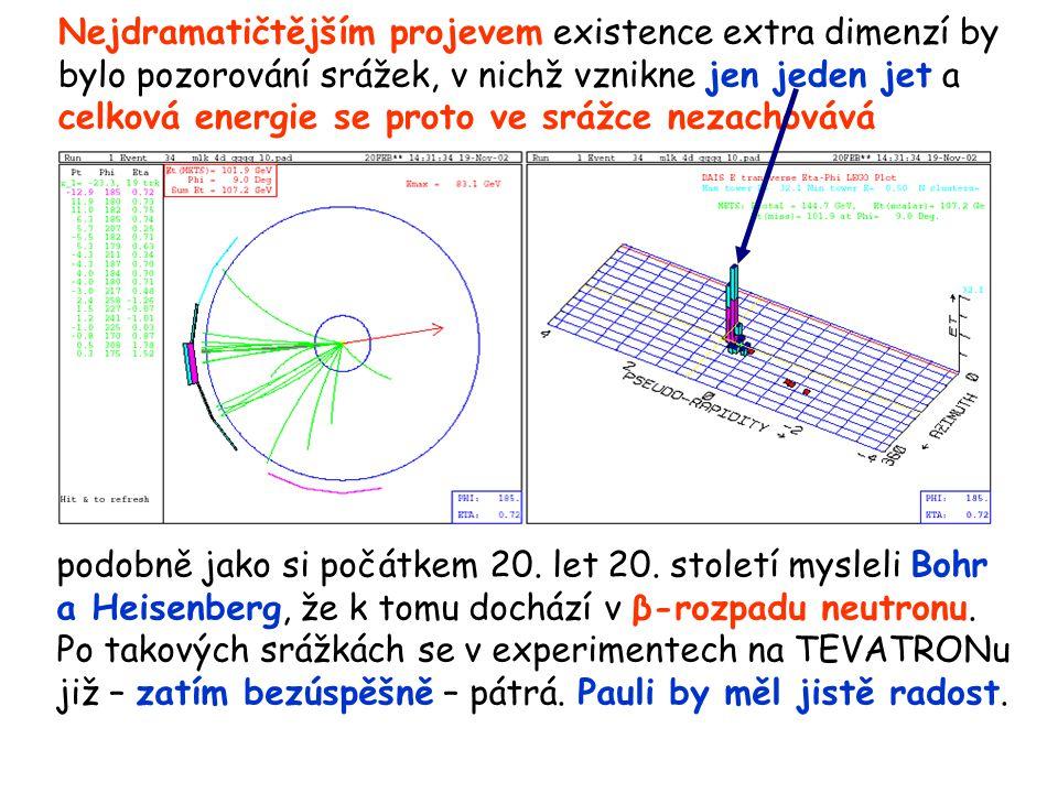 Nejdramatičtějším projevem existence extra dimenzí by bylo pozorování srážek, v nichž vznikne jen jeden jet a celková energie se proto ve srážce nezachovává podobně jako si počátkem 20.