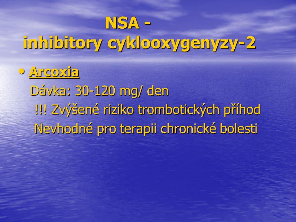 NSA - inhibitory cyklooxygenyzy-2 NSA - inhibitory cyklooxygenyzy-2 Arcoxia Arcoxia Dávka: 30-120 mg/ den Dávka: 30-120 mg/ den !!! Zvýšené riziko tro