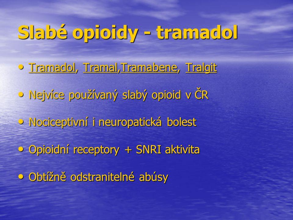 Slabé opioidy - tramadol Tramadol, Tramal,Tramabene, Tralgit Tramadol, Tramal,Tramabene, Tralgit Nejvíce používaný slabý opioid v ČR Nejvíce používaný