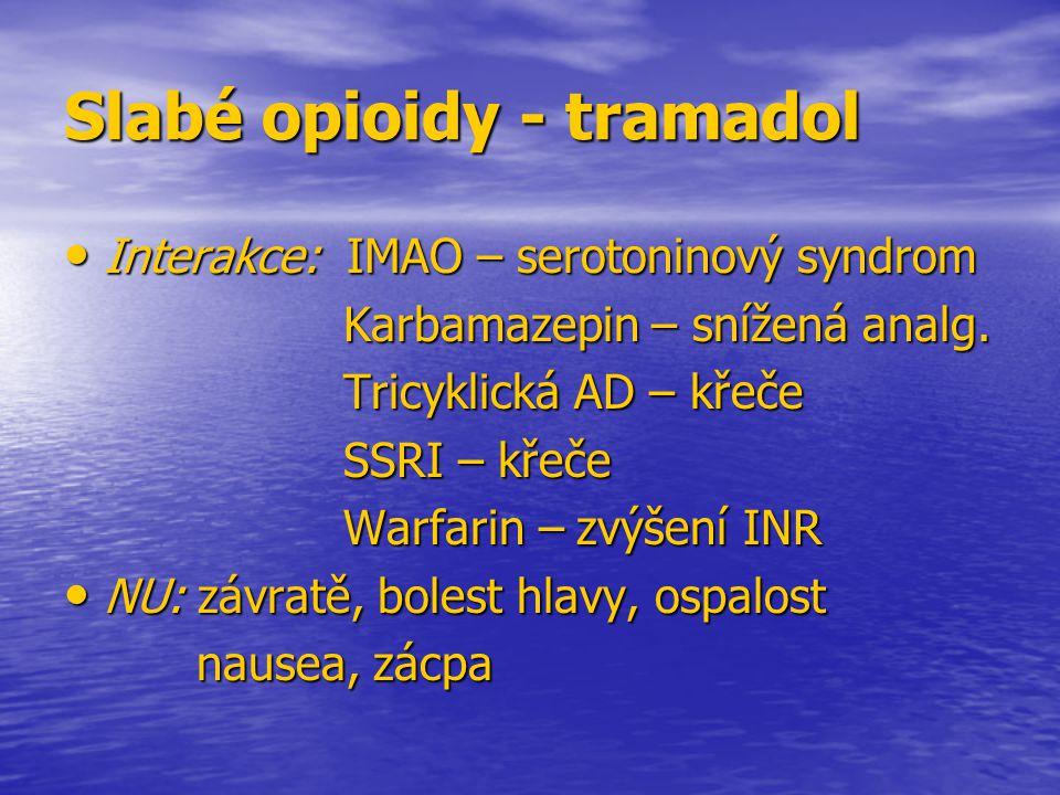 Slabé opioidy - tramadol Interakce: IMAO – serotoninový syndrom Interakce: IMAO – serotoninový syndrom Karbamazepin – snížená analg. Karbamazepin – sn