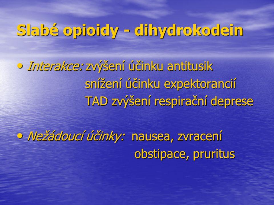 Slabé opioidy - dihydrokodein Interakce: zvýšení účinku antitusik Interakce: zvýšení účinku antitusik snížení účinku expektorancií snížení účinku expe