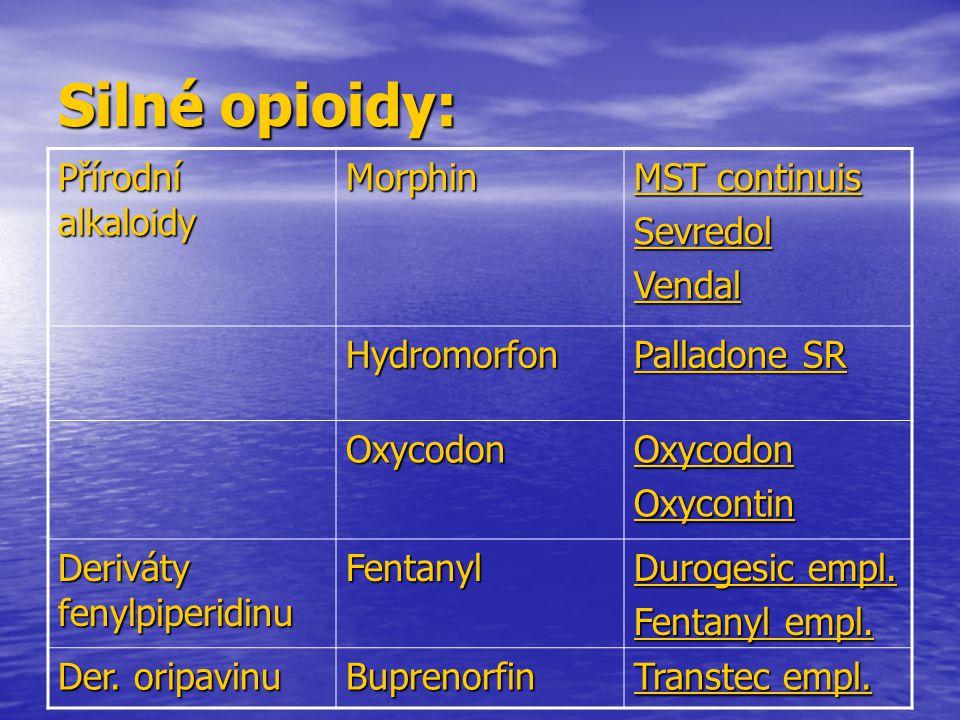 Silné opioidy: Přírodní alkaloidy Morphin MST continuis SevredolVendal Hydromorfon Palladone SR OxycodonOxycodonOxycontin Deriváty fenylpiperidinu Fen