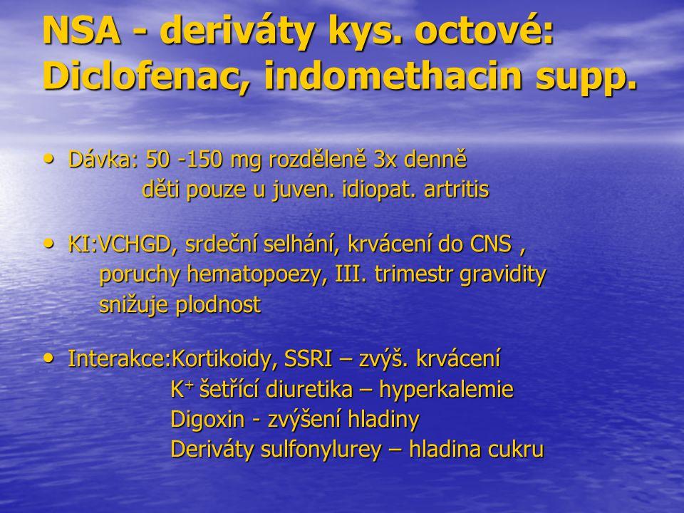 NSA - deriváty kys. octové: Diclofenac, indomethacin supp. Dávka: 50 -150 mg rozděleně 3x denně Dávka: 50 -150 mg rozděleně 3x denně děti pouze u juve