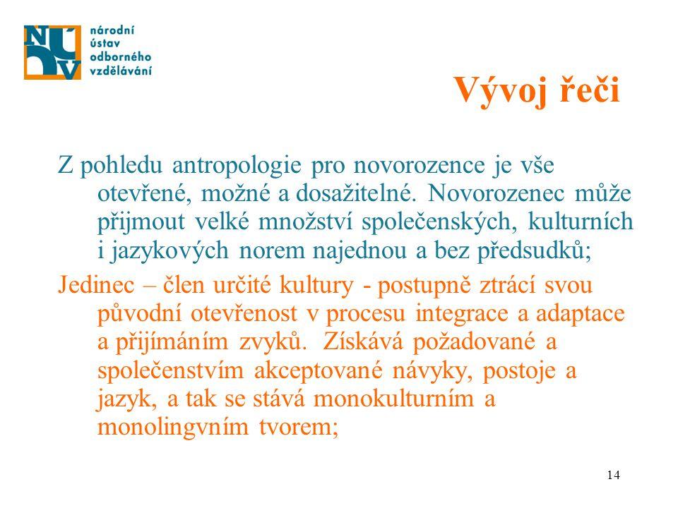 14 Vývoj řeči Z pohledu antropologie pro novorozence je vše otevřené, možné a dosažitelné. Novorozenec může přijmout velké množství společenských, kul