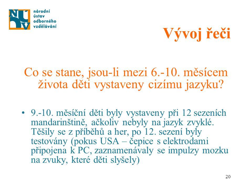 20 Vývoj řeči Co se stane, jsou-li mezi 6.-10. měsícem života děti vystaveny cizímu jazyku? 9.-10. měsíční děti byly vystaveny při 12 sezeních mandari