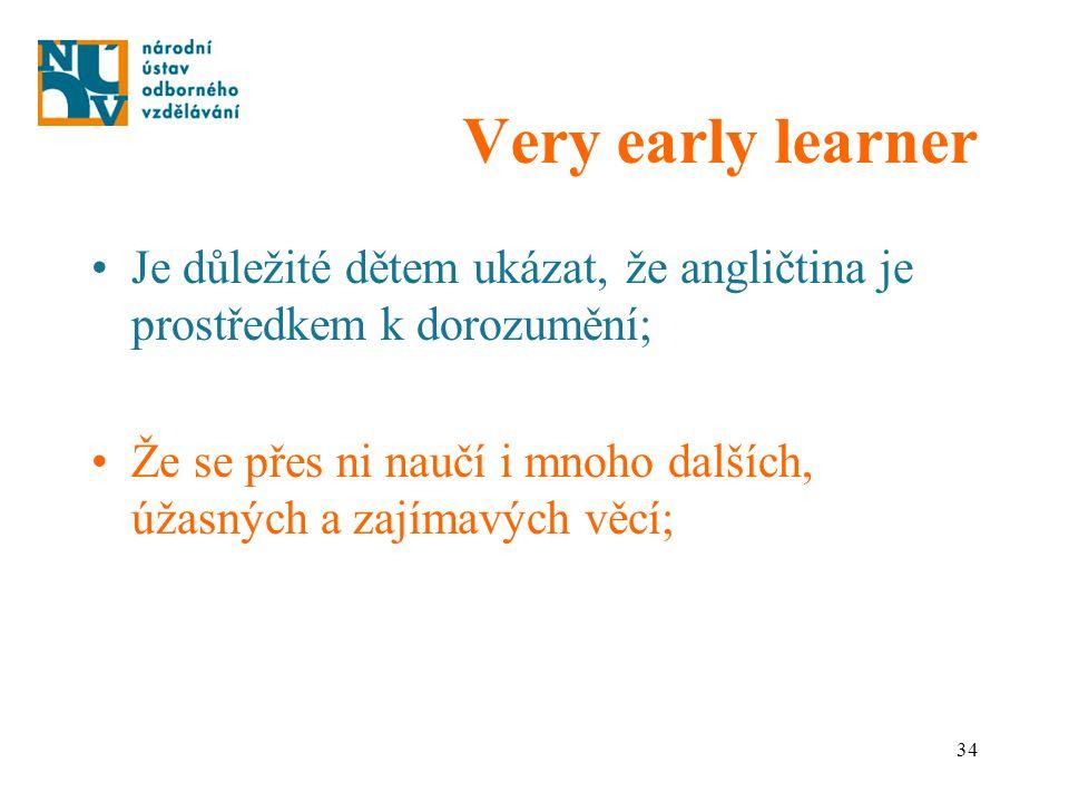 34 Very early learner Je důležité dětem ukázat, že angličtina je prostředkem k dorozumění; Že se přes ni naučí i mnoho dalších, úžasných a zajímavých