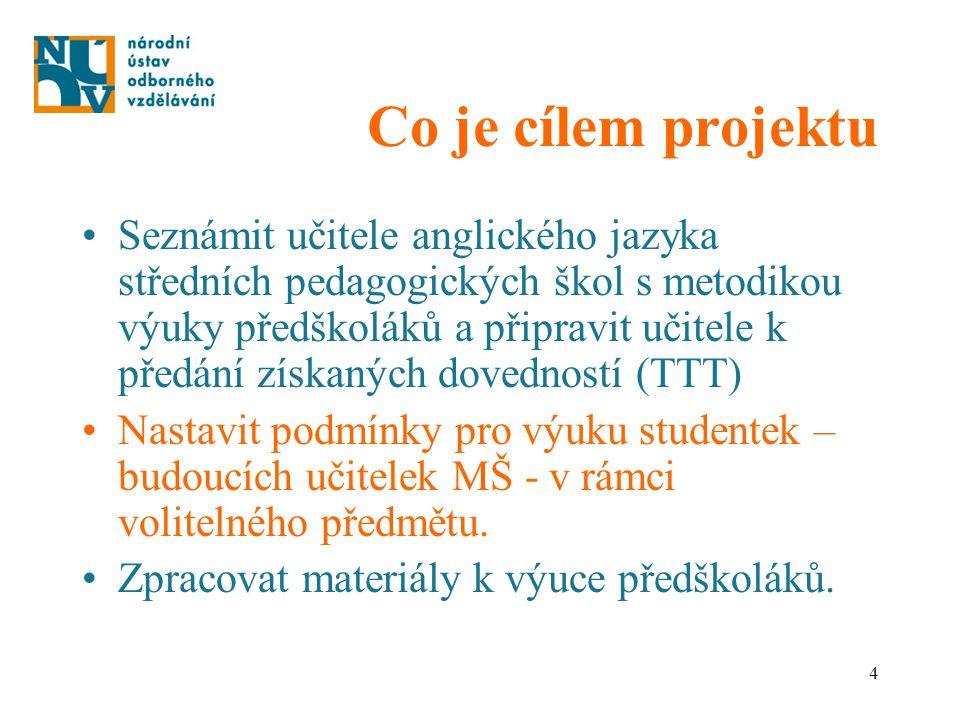 4 Co je cílem projektu Seznámit učitele anglického jazyka středních pedagogických škol s metodikou výuky předškoláků a připravit učitele k předání zís