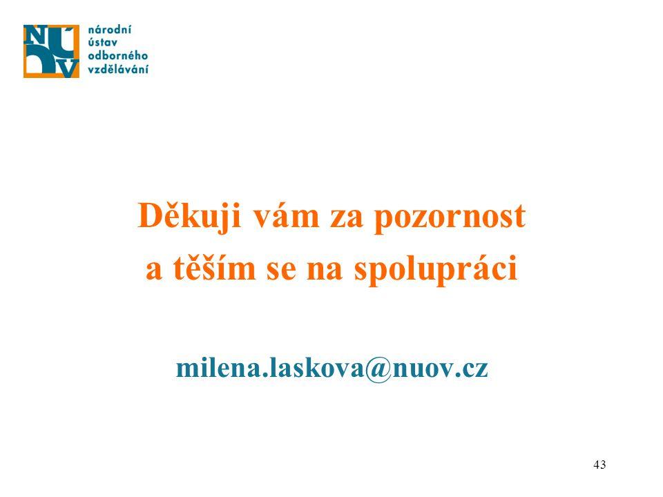 43 Děkuji vám za pozornost a těším se na spolupráci milena.laskova@nuov.cz
