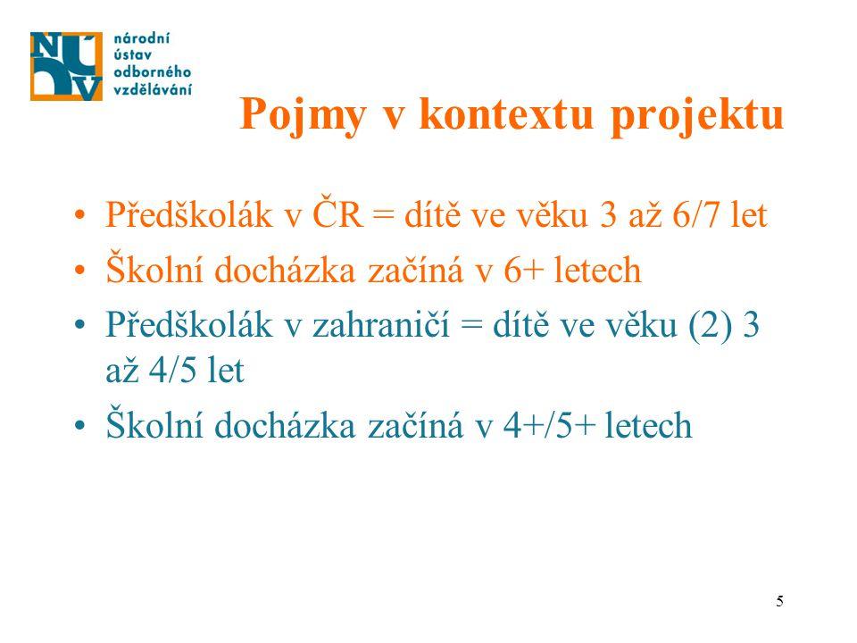 5 Pojmy v kontextu projektu Předškolák v ČR = dítě ve věku 3 až 6/7 let Školní docházka začíná v 6+ letech Předškolák v zahraničí = dítě ve věku (2) 3