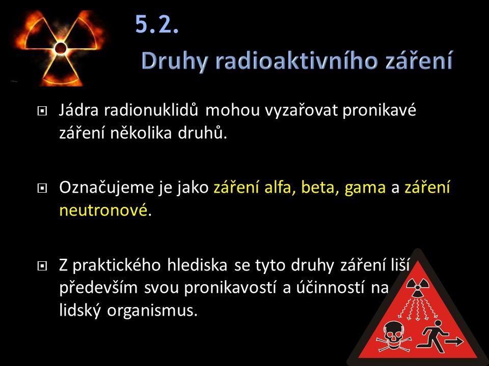  Jádra radionuklidů mohou vyzařovat pronikavé záření několika druhů.  Označujeme je jako záření alfa, beta, gama a záření neutronové.  Z praktickéh