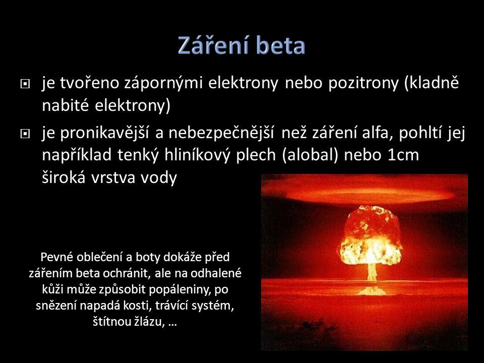 je tvořeno zápornými elektrony nebo pozitrony (kladně nabité elektrony)  je pronikavější a nebezpečnější než záření alfa, pohltí jej například tenk