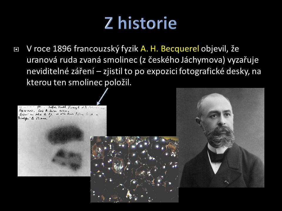  V roce 1896 francouzský fyzik A. H. Becquerel objevil, že uranová ruda zvaná smolinec (z českého Jáchymova) vyzařuje neviditelné záření – zjistil to
