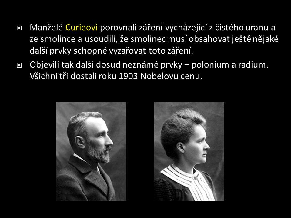  Manželé Curieovi porovnali záření vycházející z čistého uranu a ze smolince a usoudili, že smolinec musí obsahovat ještě nějaké další prvky schopné