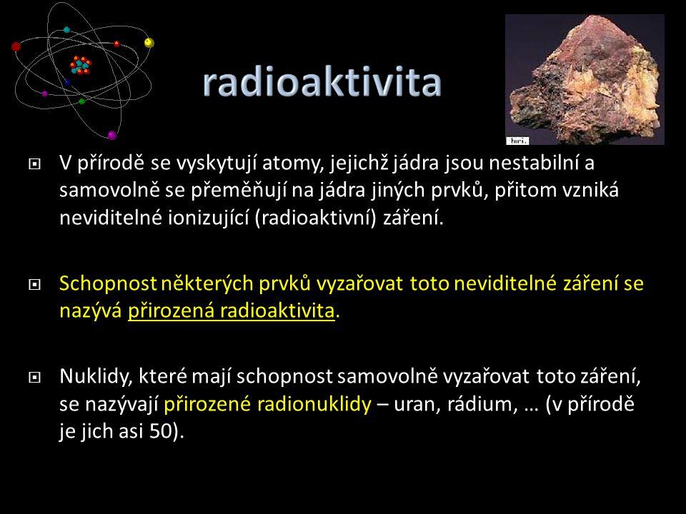  V přírodě se vyskytují atomy, jejichž jádra jsou nestabilní a samovolně se přeměňují na jádra jiných prvků, přitom vzniká neviditelné ionizující (ra