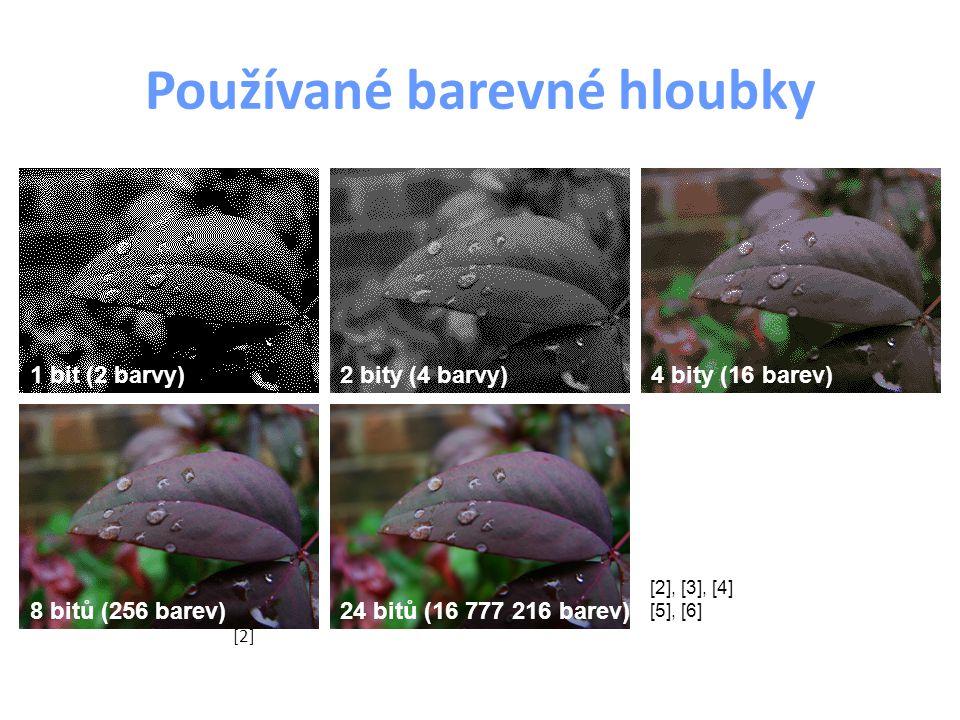 Používané barevné hloubky 1 bit (2 barvy)2 bity (4 barvy)4 bity (16 barev) 8 bitů (256 barev)24 bitů (16 777 216 barev) [2] [2], [3], [4] [5], [6]