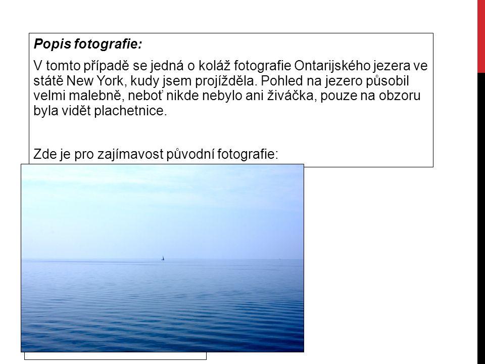 Popis fotografie: V tomto případě se jedná o koláž fotografie Ontarijského jezera ve státě New York, kudy jsem projížděla. Pohled na jezero působil ve