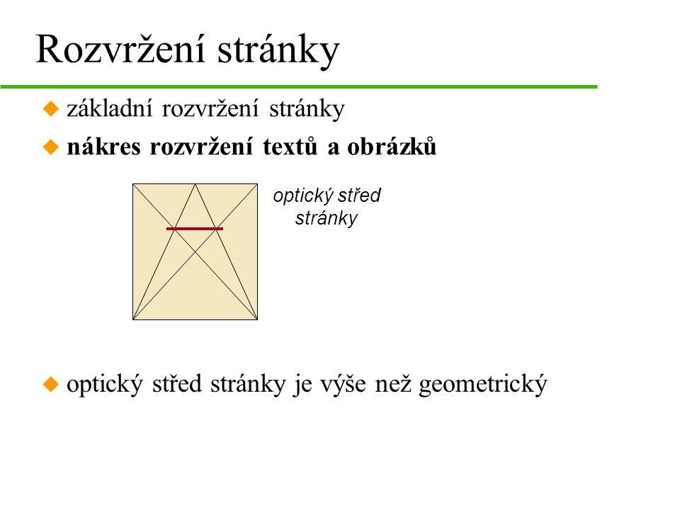 Rozvržení stránky u základní rozvržení stránky u nákres rozvržení textů a obrázků optický střed stránky u optický střed stránky je výše než geometrick