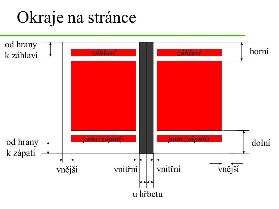 Okraje na stránce od hrany k záhlaví u hřbetu vnější horní dolní záhlaví pata (zápatí) záhlaví pata (zápatí) vnitřní od hrany k zápatí