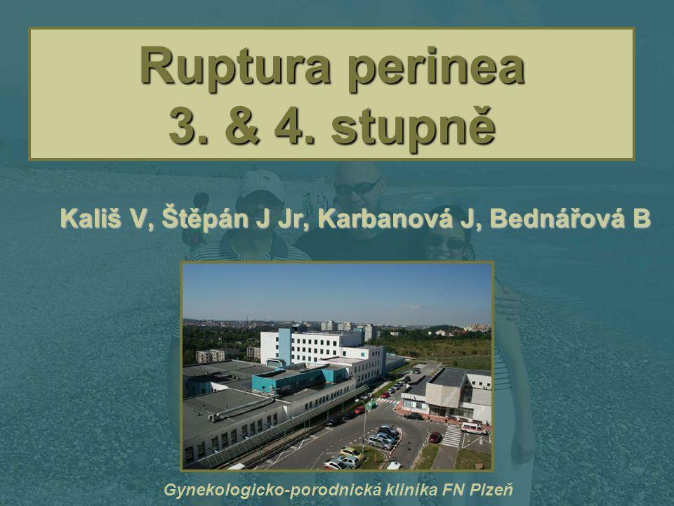 Ruptura perinea 3. & 4. stupně Kališ V, Štěpán J Jr, Karbanová J, Bednářová B Gynekologicko-porodnická klinika FN Plzeň