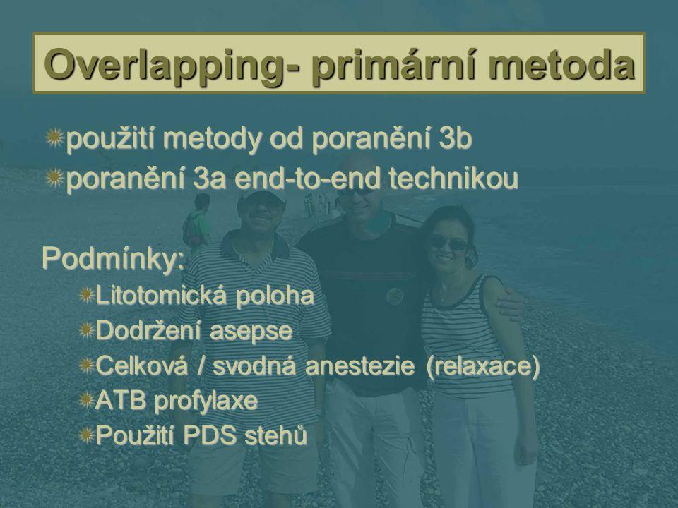 Overlapping- primární metoda  použití metody od poranění 3b  poranění 3a end-to-end technikou Podmínky:  Litotomická poloha  Dodržení asepse  Cel