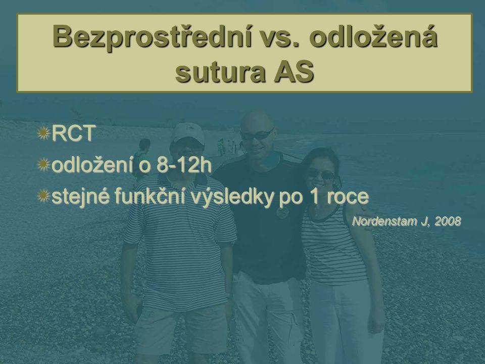 Bezprostřední vs. odložená sutura AS  RCT  odložení o 8-12h  stejné funkční výsledky po 1 roce Nordenstam J, 2008