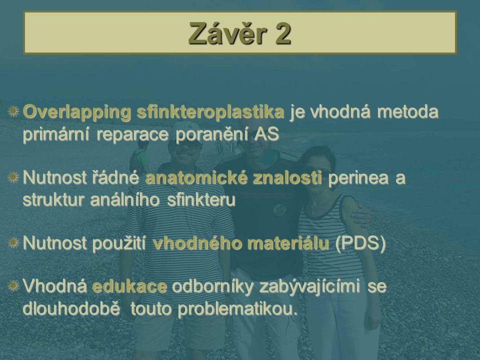 Závěr 2  Overlapping sfinkteroplastika je vhodná metoda primární reparace poranění AS  Nutnost řádné anatomické znalosti perinea a struktur análního