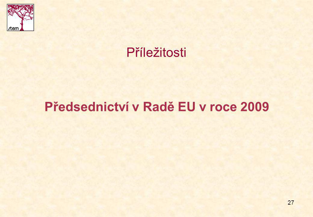 27 Předsednictví v Radě EU v roce 2009 Příležitosti