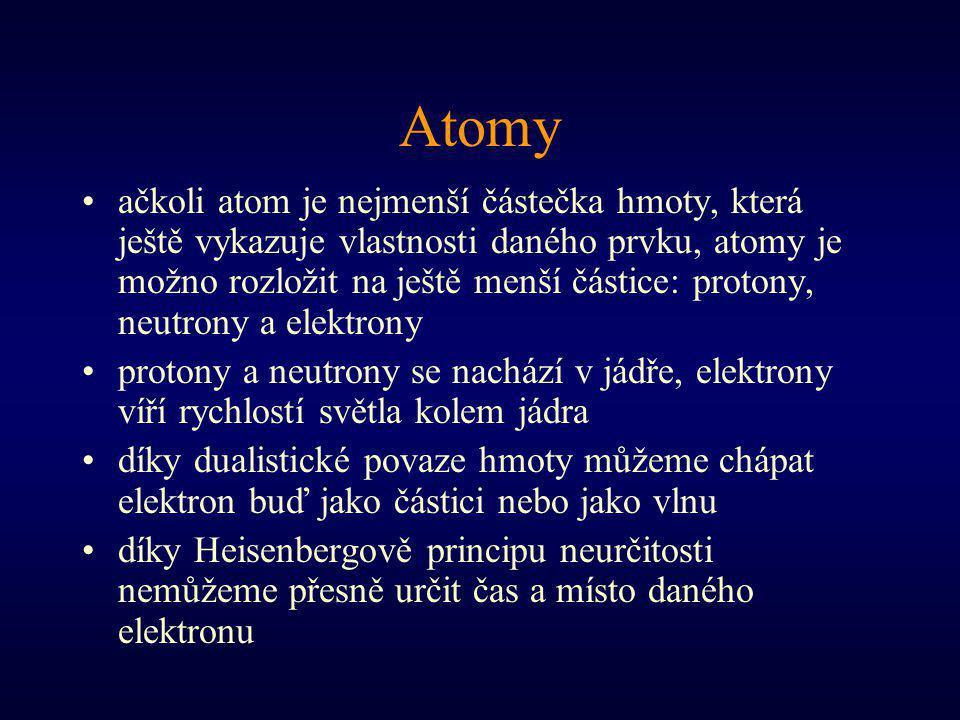 Atomy ačkoli atom je nejmenší částečka hmoty, která ještě vykazuje vlastnosti daného prvku, atomy je možno rozložit na ještě menší částice: protony, n