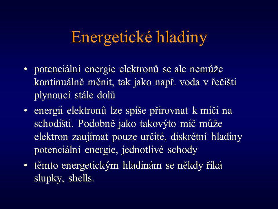 Energetické hladiny potenciální energie elektronů se ale nemůže kontinuálně měnit, tak jako např. voda v řečišti plynoucí stále dolů energii elektronů