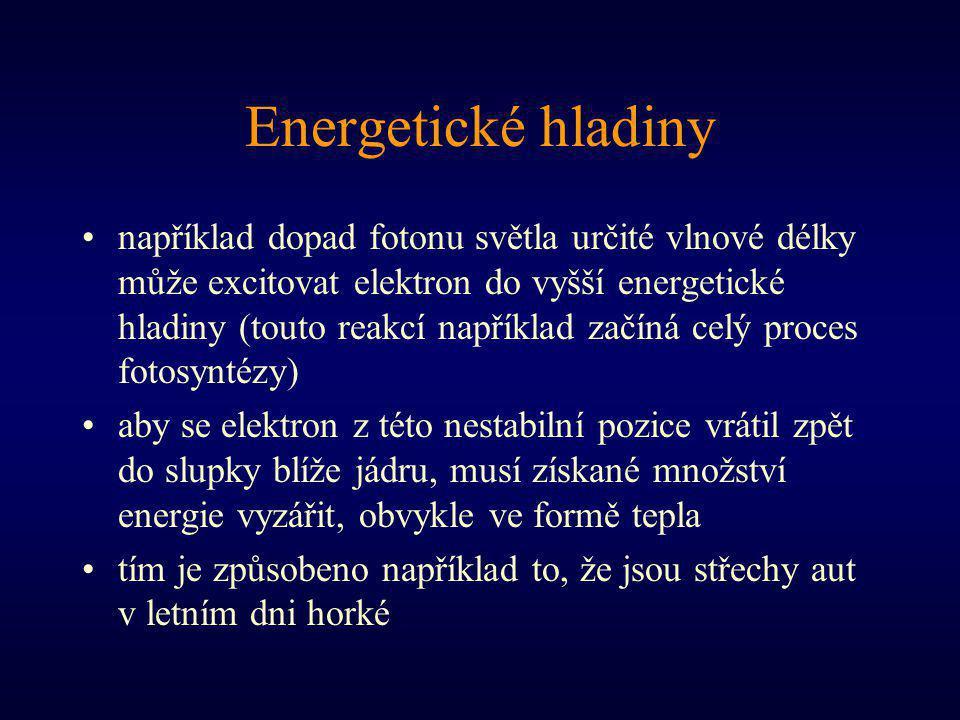 Energetické hladiny například dopad fotonu světla určité vlnové délky může excitovat elektron do vyšší energetické hladiny (touto reakcí například zač