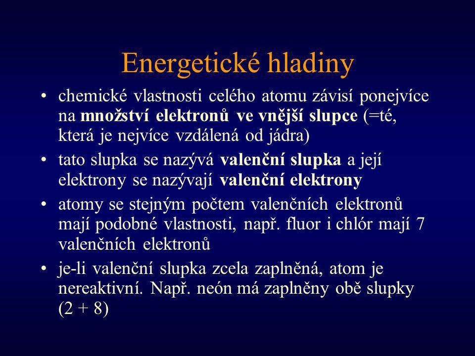 Energetické hladiny chemické vlastnosti celého atomu závisí ponejvíce na množství elektronů ve vnější slupce (=té, která je nejvíce vzdálená od jádra) tato slupka se nazývá valenční slupka a její elektrony se nazývají valenční elektrony atomy se stejným počtem valenčních elektronů mají podobné vlastnosti, např.